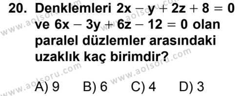 Analitik Geometri 2 Dersi 2011-2012 Yılı 1. Dönem Sınavı 20. Soru