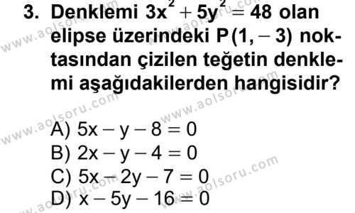 Analitik Geometri 2 Dersi 2012 - 2013 Yılı 1. Dönem Sınav Soruları 3. Soru