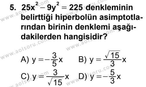 Analitik Geometri 2 Dersi 2012-2013 Yılı 1. Dönem Sınavı 5. Soru