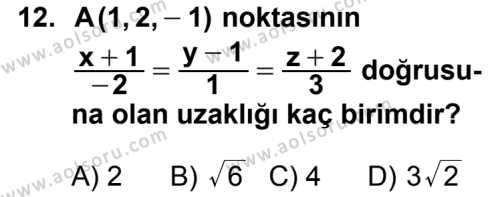 Analitik Geometri 2 Dersi 2012-2013 Yılı 1. Dönem Sınavı 12. Soru