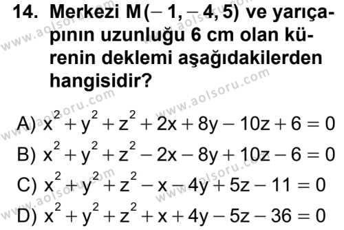 Analitik Geometri 2 Dersi 2012-2013 Yılı 1. Dönem Sınavı 14. Soru