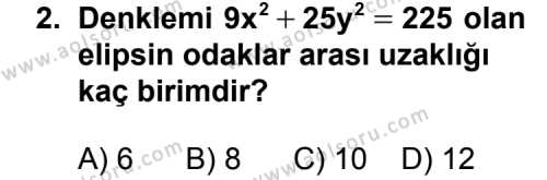 Analitik Geometri 2 Dersi 2012 - 2013 Yılı 3. Dönem Sınav Soruları 2. Soru
