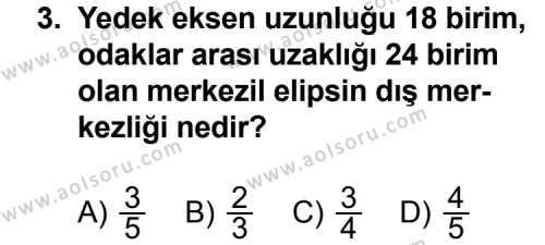 Analitik Geometri 2 Dersi 2012 - 2013 Yılı 3. Dönem Sınav Soruları 3. Soru