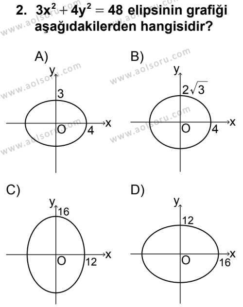 Analitik Geometri 2 Dersi 2012 - 2013 Yılı Ek Sınav Soruları 2. Soru