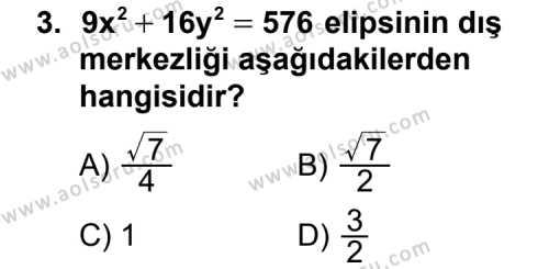 Analitik Geometri 2 Dersi 2012 - 2013 Yılı Ek Sınav Soruları 3. Soru