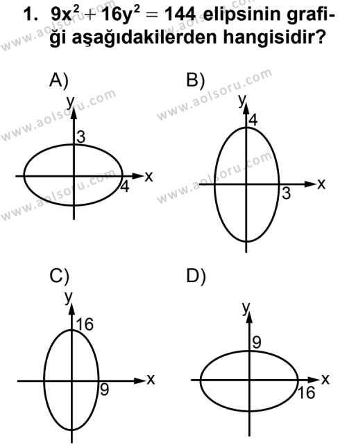 Analitik Geometri 2 Dersi 2013-2014 Yılı 1. Dönem Sınavı 1. Soru