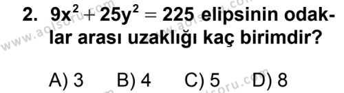 Analitik Geometri 2 Dersi 2013 - 2014 Yılı 1. Dönem Sınav Soruları 2. Soru