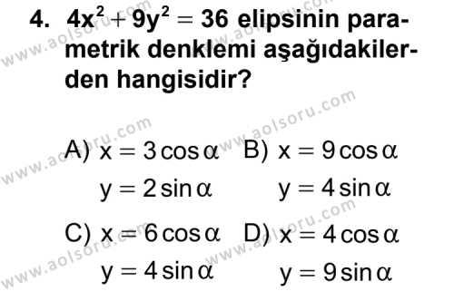 Analitik Geometri 2 Dersi 2013 - 2014 Yılı 1. Dönem Sınav Soruları 4. Soru