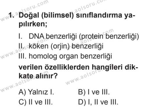 Biyoloji 2 Dersi 2017 - 2018 Yılı 3. Dönem Sınavı 1. Soru