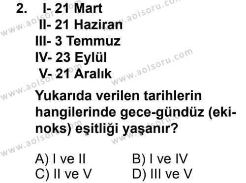 Coğrafya 1 Dersi 2011 - 2012 Yılı Ek Sınav Soruları 2. Soru