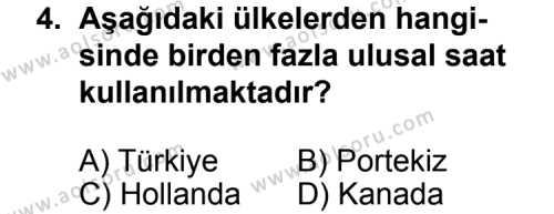 Coğrafya 1 Dersi 2011 - 2012 Yılı Ek Sınav Soruları 4. Soru