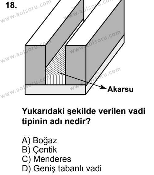 Coğrafya 1 Dersi 2013-2014 Yılı 1. Dönem Sınavı 18. Soru