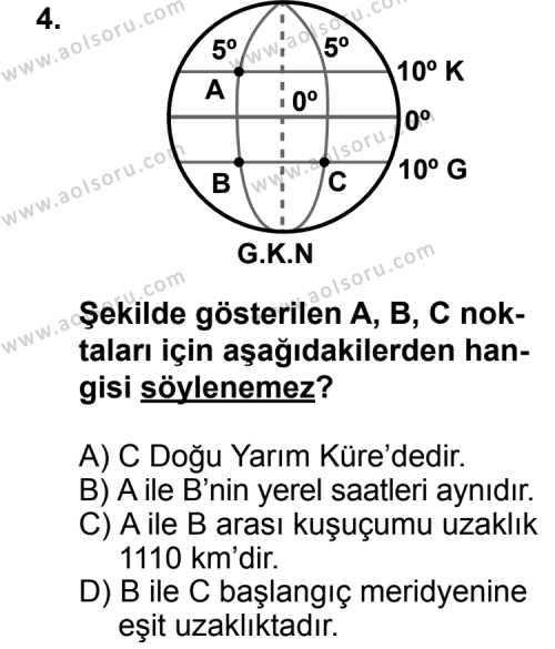 Coğrafya 1 Dersi 2014 - 2015 Yılı Ek Sınav Soruları 4. Soru