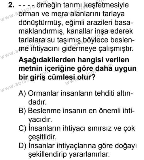 Coğrafya 1 Dersi 2016-2017 Yılı 1. Dönem Sınavı 2. Soru