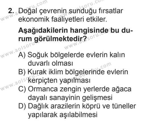 Coğrafya 1 Dersi 2017 - 2018 Yılı 3. Dönem Sınavı 2. Soru