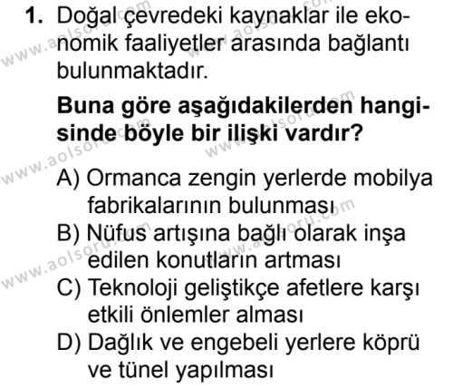Coğrafya 1 Dersi 2017 - 2018 Yılı Ek Sınavı 1. Soru