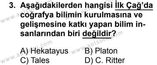 Coğrafya 1 Dersi 2017 - 2018 Yılı Ek Sınavı 3. Soru