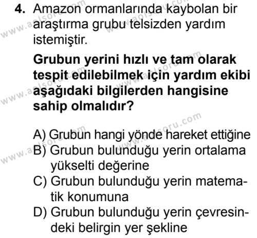 Coğrafya 1 Dersi 2017 - 2018 Yılı Ek Sınavı 4. Soru
