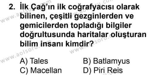 Coğrafya 1 Dersi 2018 - 2019 Yılı 1. Dönem Sınavı 2. Soru