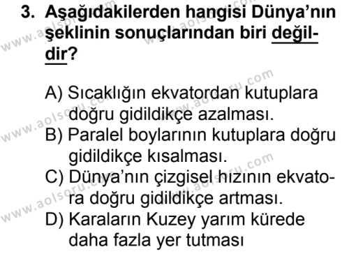 Coğrafya 1 Dersi 2018 - 2019 Yılı 1. Dönem Sınavı 3. Soru