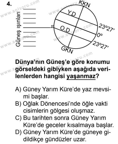 Coğrafya 1 Dersi 2018 - 2019 Yılı 1. Dönem Sınavı 4. Soru