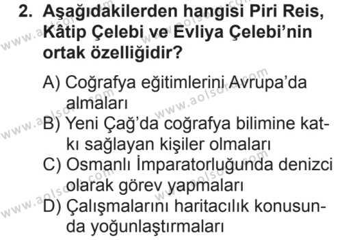 Coğrafya 1 Dersi 2018 - 2019 Yılı 2. Dönem Sınav Soruları 2. Soru