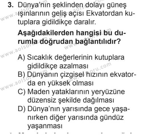 Coğrafya 1 Dersi 2018 - 2019 Yılı 2. Dönem Sınav Soruları 3. Soru