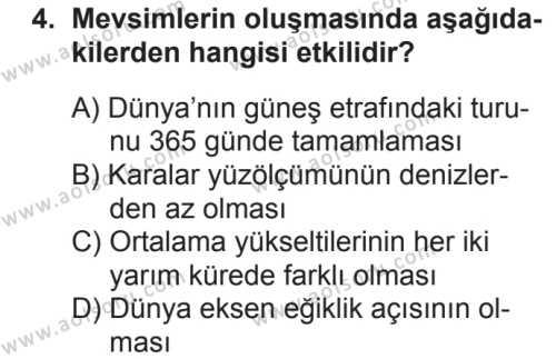 Coğrafya 1 Dersi 2018 - 2019 Yılı 2. Dönem Sınavı 4. Soru