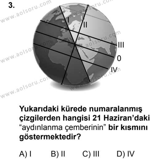 Coğrafya 1 Dersi 2018 - 2019 Yılı 3. Dönem Sınavı 3. Soru