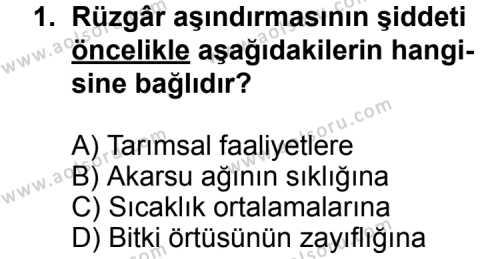Coğrafya 2 Dersi 2012 - 2013 Yılı 1. Dönem Sınav Soruları 1. Soru