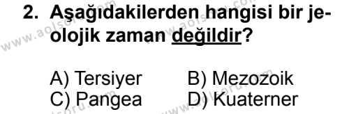 Coğrafya 2 Dersi 2012-2013 Yılı 1. Dönem Sınavı 2. Soru