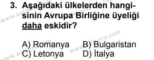 Coğrafya 2 Dersi 2012 - 2013 Yılı 1. Dönem Sınav Soruları 3. Soru