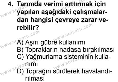 Coğrafya 2 Dersi 2012 - 2013 Yılı 1. Dönem Sınav Soruları 4. Soru