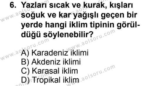 Coğrafya 2 Dersi 2012-2013 Yılı 1. Dönem Sınavı 6. Soru