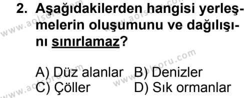 Coğrafya 2 Dersi 2013 - 2014 Yılı 1. Dönem Sınav Soruları 2. Soru
