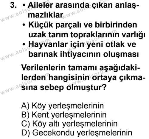 Coğrafya 2 Dersi 2013 - 2014 Yılı 1. Dönem Sınav Soruları 3. Soru