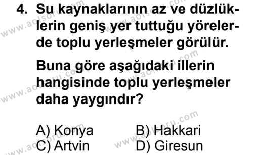 Coğrafya 2 Dersi 2013 - 2014 Yılı 1. Dönem Sınav Soruları 4. Soru