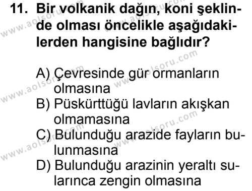 Coğrafya 2 Dersi 2013-2014 Yılı 1. Dönem Sınavı 11. Soru