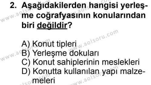 Coğrafya 2 Dersi 2013 - 2014 Yılı 3. Dönem Sınav Soruları 2. Soru