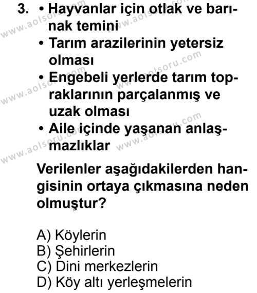 Coğrafya 2 Dersi 2013 - 2014 Yılı 3. Dönem Sınav Soruları 3. Soru