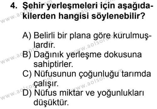 Coğrafya 2 Dersi 2013 - 2014 Yılı 3. Dönem Sınav Soruları 4. Soru