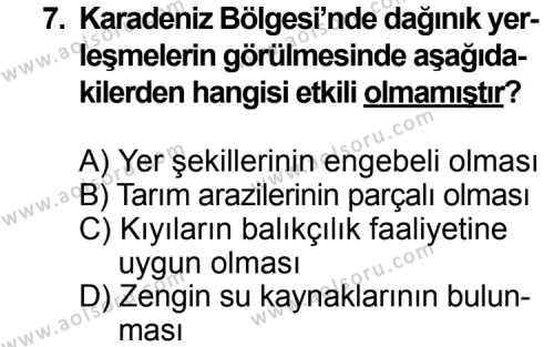Coğrafya 2 Dersi 2014-2015 Yılı 1. Dönem Sınavı 7. Soru
