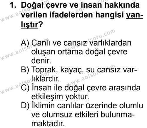 Coğrafya 2 Dersi 2014 - 2015 Yılı 3. Dönem Sınav Soruları 1. Soru
