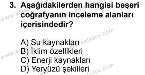 Coğrafya 2 Dersi 2014 - 2015 Yılı 3. Dönem Sınav Soruları 3. Soru