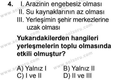 Coğrafya 2 Dersi 2015 - 2016 Yılı 1. Dönem Sınav Soruları 4. Soru
