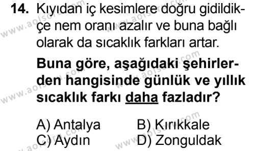 Coğrafya 2 Dersi 2015-2016 Yılı 1. Dönem Sınavı 14. Soru