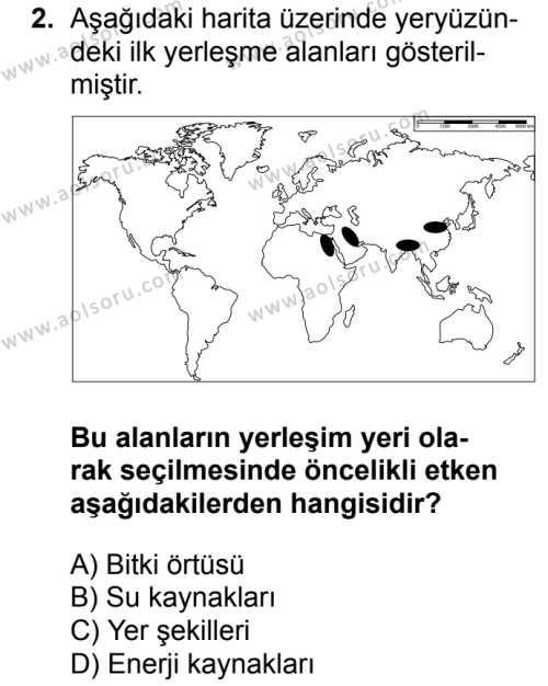 Coğrafya 2 Dersi 2017 - 2018 Yılı 1. Dönem Sınav Soruları 2. Soru