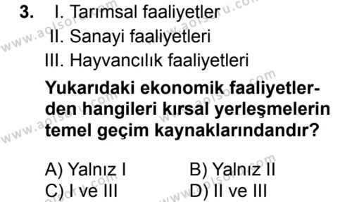 Coğrafya 2 Dersi 2017 - 2018 Yılı 1. Dönem Sınav Soruları 3. Soru