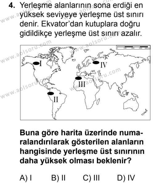 Coğrafya 2 Dersi 2017 - 2018 Yılı 1. Dönem Sınav Soruları 4. Soru