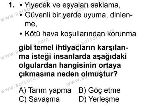 Coğrafya 2 Dersi 2017 - 2018 Yılı 2. Dönem Sınavı 1. Soru